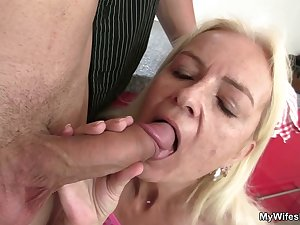 Granny gives head and fucks not her son in law