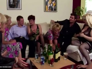 Pissing group sex with mature moms and young sons