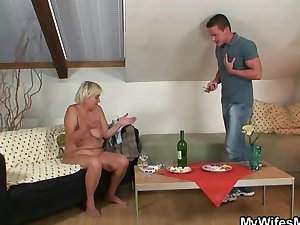 His wife comes in and sees him fucking her old mom