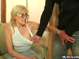 Porn-loving granny pleases son in law