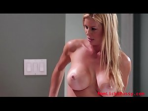 Beautiful brat gets her wet pussy eaten by her sexy stepmom